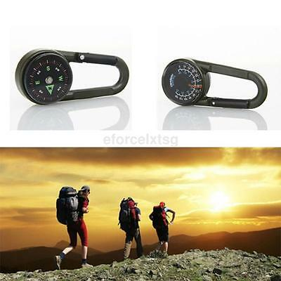 Multifunctional Hiking Metal Carabiner Mini Compass Thermometer With Keychain US