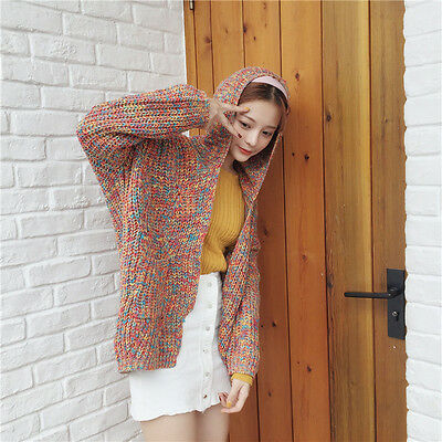 Autumn winter cardigan sweater women wild knit hooded loose hooded sweater