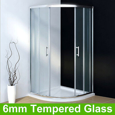 Walk In Shower Cubicle and Tray Quadrant Enclosure Corner Glass Door+Waste