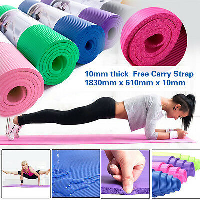 10mm Thick NBR Non-slip Yoga Mat Pilate Gym Fitness Exercise Pad Carry Strap
