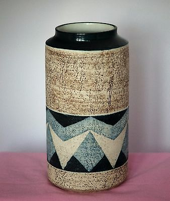 Troika Pottery - LARGE LIPPED CYLINDER  VASE - Decorated by Alison Brigden