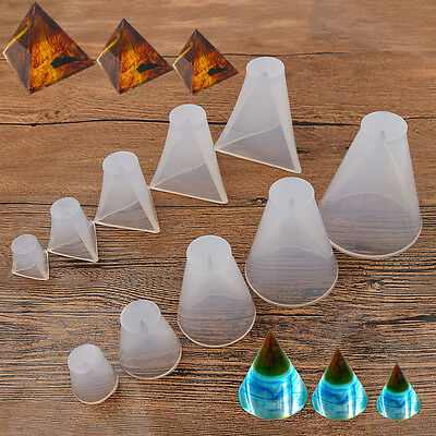 DIY Transparent Mold Jewellery Making Pyramid Cone Silicone Decor Crafts Tools