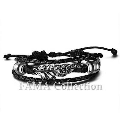 FAMA Black Braided Leather Adjustable Bracelet w/ Stainless Steel Feather Centre