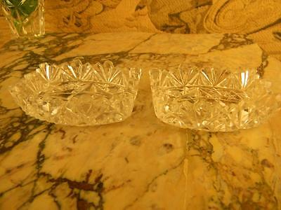Exquisite Pair of American Brilliant Cut Glass Open Salts; Sawtooth Pattern.