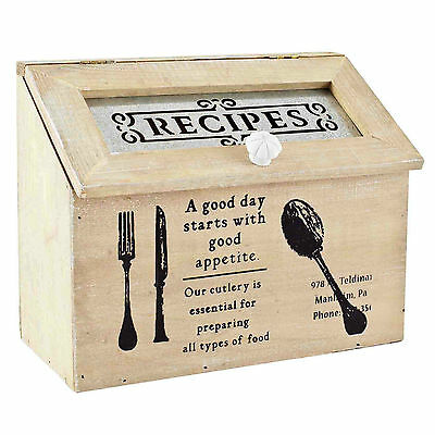 Shabby Chic Vintage Inspired Wooden Recipe Box Lovely Gift Idea