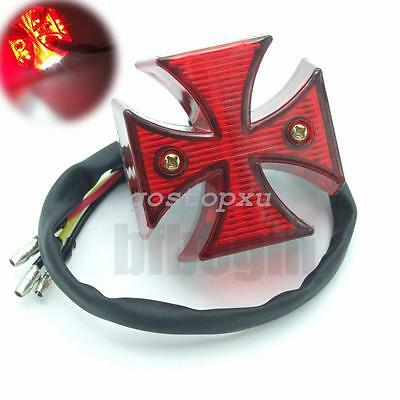 Chrome MALTESE CROSS LED Feu Stop Arrière Pr Harley Chopper Bobber Custom Moto