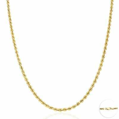 "14K Real Yellow Gold 3mm Thick Rope Link Chain Necklace 24"" NEW"