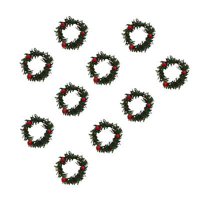 10pcs Small Mimi Wreath Garland with Berry Christmas Tree Door Hanging Decor