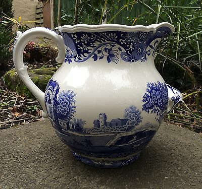Huge Spode Itailian Blue & White 10 litre Dairy Jug 17.5 Pint