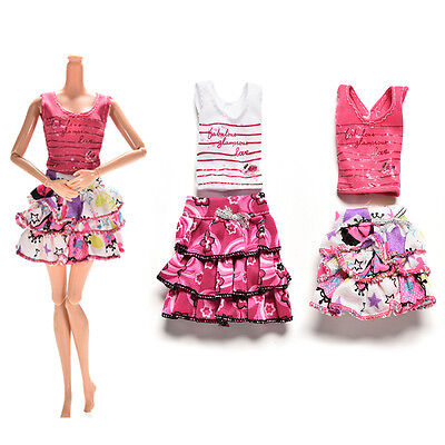 2 Pcs Skirt Short-sleeved T-shirt for Barbies Kids Doll Clothes Tutu Skirt New l