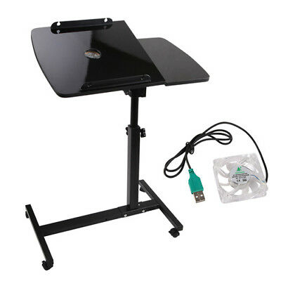 Rotating Mobile Laptop Desk Adjustable Computer iPad Stand Table Tray+USB Cooler