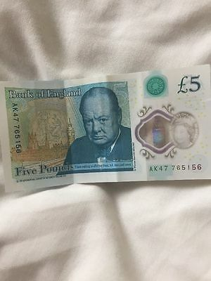 New £5 AK47 Series Note. £5 note with serial number AK 47 765156 good condition