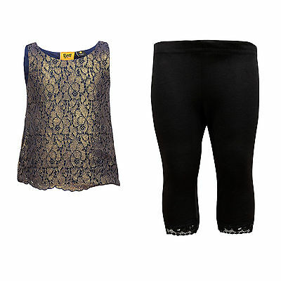 NEW 4 Years Girls Kids OUTFIT Set Sleeveless PARTY Lace Top & Crop Leggings