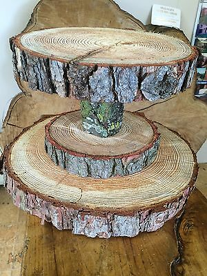 "Tiered Rustic Wooden Wedding cake/ Cup Cake stand, centre piece, 15"" Base"