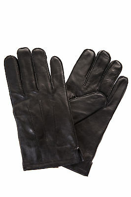 Marks And Spencer Mens Black Real Leather Winter Warm Driving Gloves size large