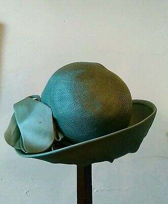 vintage English ladies hat green modelled by Edna Wallace London Paris