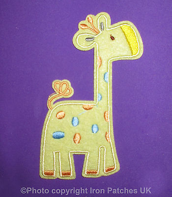 Kids Cute Tall Baby Giraffe Iron / Sew on Embroidered Patch Badge Applique Motif