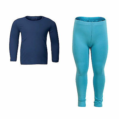NEW 5-6 Years 2pc Kids Blue OUTFIT Set COTTON Long Sleeve Jumper Top & Leggings