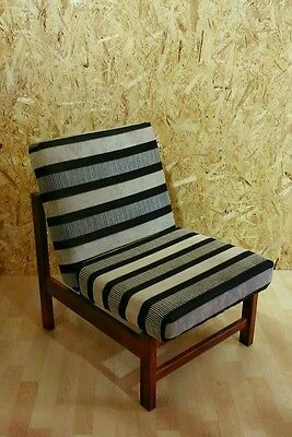 Upcycled armchair lounge chair monochrome stripe vintage retro