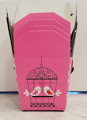 Set of 4 Small Pink White & Black Love Birds Chinese Gift Boxes Ribbon Handles