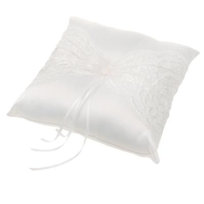 Wedding Ceremony White Satin Lace Ring Pillow Cushion with Ribbon