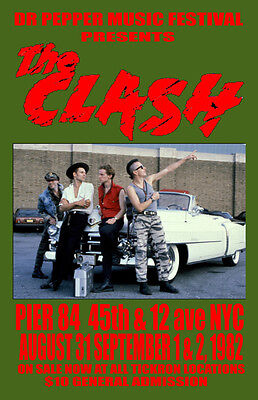 The Clash Replica *pier84* Nyc 1982 Concert Poster
