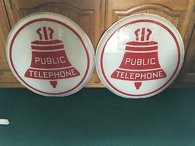 "Vintage RED & WHITE Illuminated Public Telephone Sign 2- 24"" Lenses RARE"