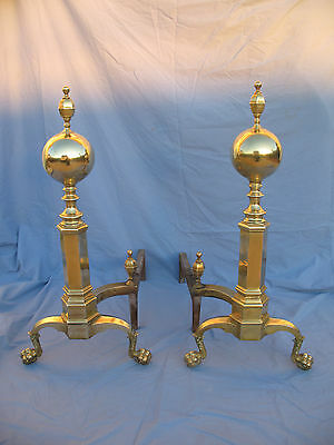 "Brass Andirons 29"" Tall Boston Style Ball and Claw Feet Spur Finial w Firedogs"