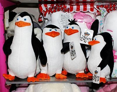 4PCS The Funny Penguins of Madagascar Plush Stuffed Toys Dolls Gift 21-30cm New