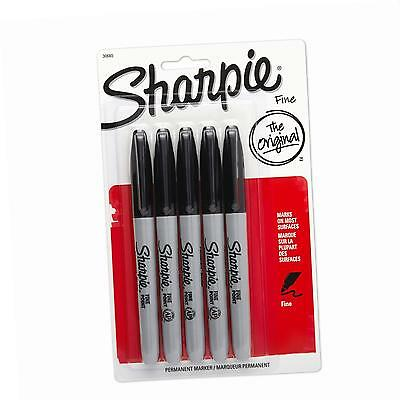 Sanford Sharpie Fine Point Permanent Markers, Pack of 5, Black