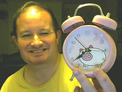 Pink Large Bells Pig Alarm Clock Great Xmas Gift! Reduced To Clear!