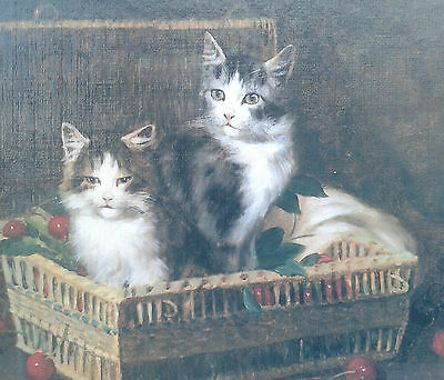 Jules Leroy (French, 1856-1921). Framed oleograph of cats and cherries.