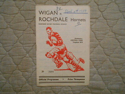 Wigan V Rochdale Rugby League Match Programme 1959
