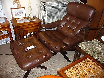 Mid Century Retro Swedish Leather Swivel Chair & Foot Stool 1970's