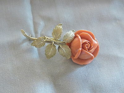 Spilla Vintage '40 - Solid Gold 18K And Coral Rose Brooch High Italian Jewellery