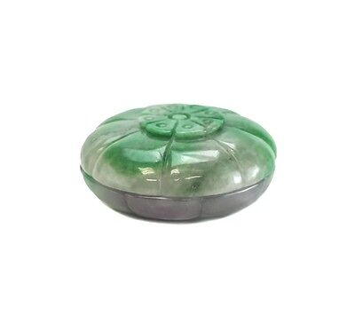 Antique Jadeite Jade Chinese Seal Paste Box, Handcarved Green Lavender c1900