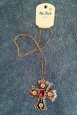 My Style Gold Bronze And Silver Metallic Plated Cross Necklace With Red Bead
