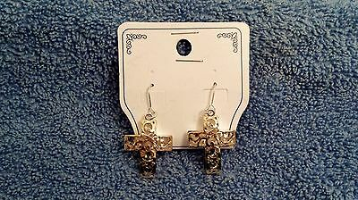 Unique 3-Dimensional Gold And Silver Plated Cross Drop Dangle Earrings