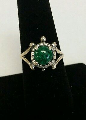 Carolyn Pollack Relios 925 Sterling Silver Ring Turtle Malachite Detailed Signed