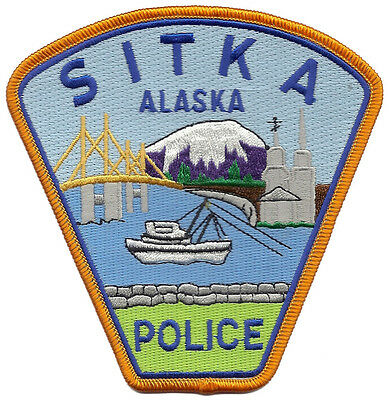 """Sitka Police Alaska Shoulder Patch - 4 1/2"""" tall by 4 3/8"""" wide - NEW"""