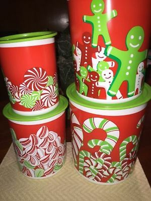 Tupperware One Touch Holiday Candy Cane tall Canisters Set Of 4 Christmas NEW