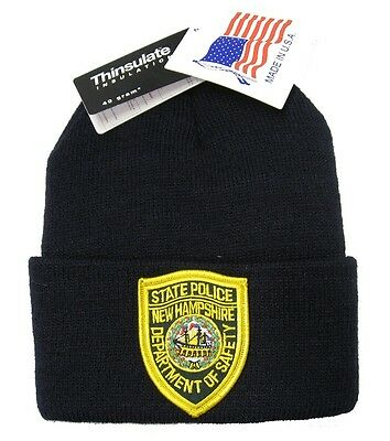 New Hampshire State Police Patch Knit Cap -40g Thinsulate Insulation - Navy Blue