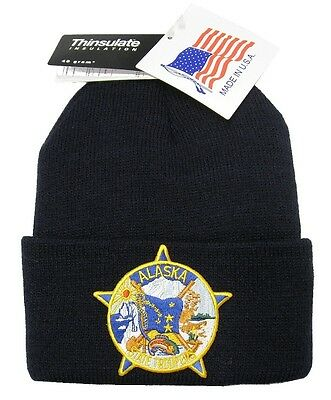 Alaska State Troopers Patch Knit Cap - 40g Thinsulate Insulation - Navy Blue