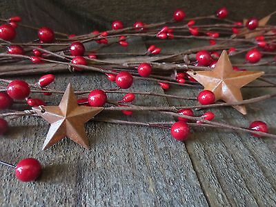 5 Ft Holiday Red Primitive Rusty Stars Mixed Pip Berry Garland Country 60 inches