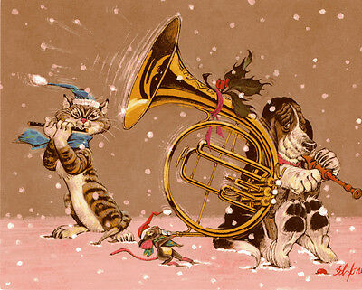 Vintage Christmas Unused Greeting Card- Cat & Dog Merry Christmas Happy New Year