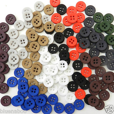 20 coloured shirt buttons 10mm or12mm  red green blue black white navy  4 holes