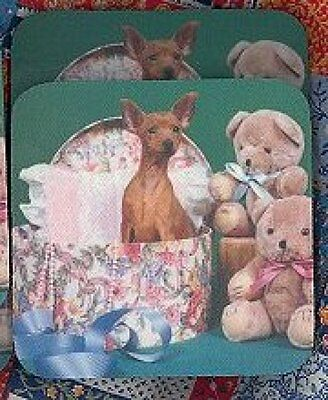 MINIATURE PINSCHER Red Rubber Backed Coasters #1022