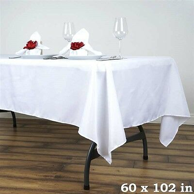 10 Pack 60x102 in. Polyester Rectangle Seamless Tablecloth~Wedding~NEW