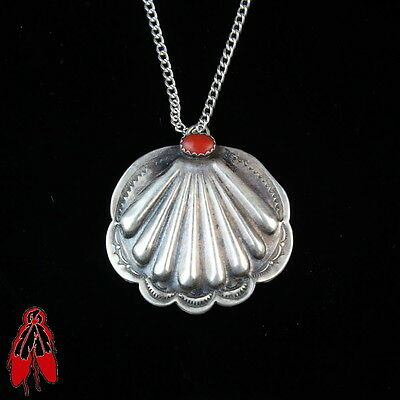 Stunning Silver repousse shell pattern red coral pendant vintage Navajo pawn
