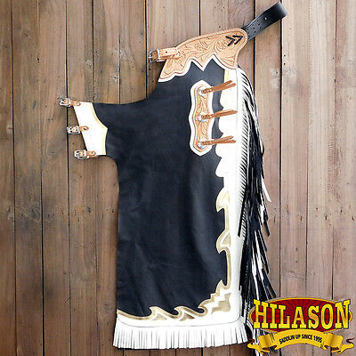 Ch877T Hilason Black Bull Riding Soft Smooth Leather Rodeo Western Chaps